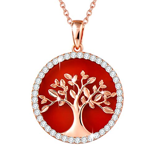 Agvana Tree of Life Necklace Rose Gold Plated Sterling Silver Genuine Natural Red Onyx CZ Dainty Necklace Fine Jewelry Gifts for Women Mom Grandma Teens Girls, 16+2 Inches Extender (Christmas Tree Red Rose)