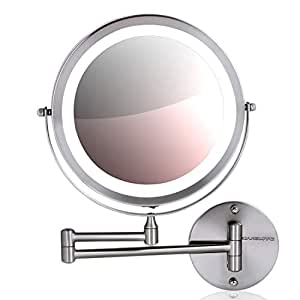 Amazon Com Ovente Wall Mount Makeup Mirror Battery