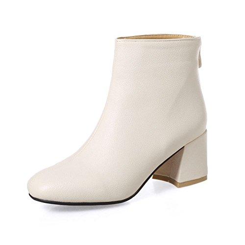 Comfort Chunky tobillo Blanco Heel a Kaloosh cuero Beige vestido mano Toe Square hecho PU botines de qa4cXwd