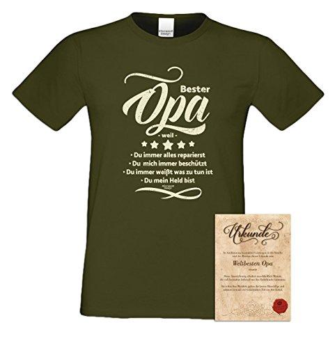 Großvater Fun-T-shirt als Top Geschenk mit GRATIS Urkunde - Bester Opa weil Farbe: dunkelgrün Gr: XL