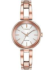 Ladies Citizen Eco-Drive Axiom Rose Gold Bracelet Watch EM0633-53A