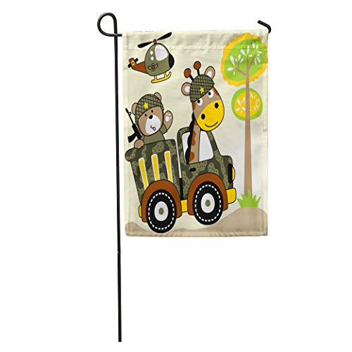 Semtomn Garden Flag Two Soldiers Giraffe and Bear to The Battlefield by Helicopter Home Yard House Decor Barnner Outdoor Stand 12x18 Inches Flag