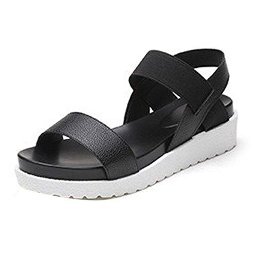 AIMTOPPY Summer Sandals, Women's Summer Shoes Peep-toe Sandals Low Shoes Roman Sandals Ladies Flip Flops (US:9.5, Black)