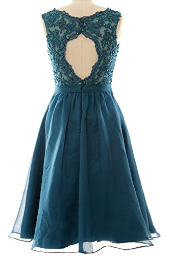 Vintage Neck Lace V Short Gown Dresses Lavendel Prom Women MACloth Wedding Chiffon Party FcyStR