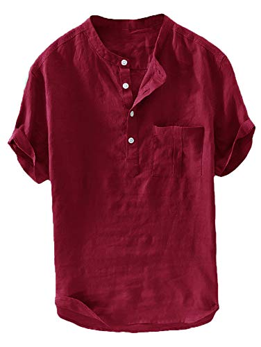 Taoliyuan Men Linen Shirt Summer Beach Banded Collar Short Sleeve Button Down Casual Loose Fit T Shirt (Large, D-Red)