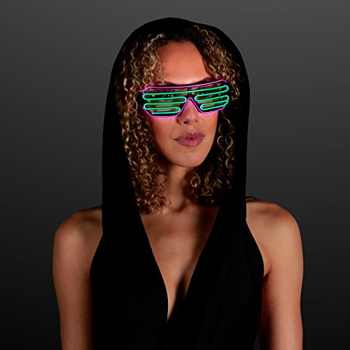 Totally '80s EL Wire Glow Shades - Pink & Green (Set of 12)