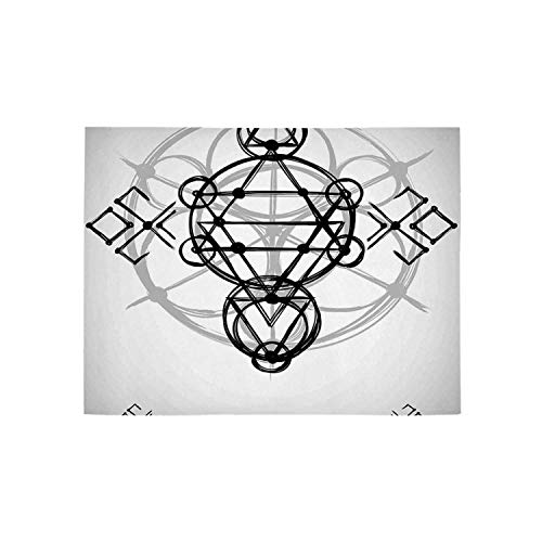 - Sacred Geometrty Decor Utility Area Rug,Simplistic Seed of Life Symbol with Vortex Motion with Spheres Print for Home,84
