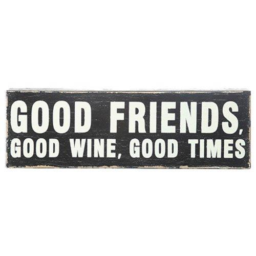 3 Wood Good Friends, Good Wine, Good Times Sign ()