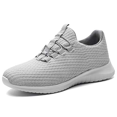 KONHILL Women's Breathable Sneakers Casual Knit Tennis Athletic Walking Running Shoes, L.Gray, 42