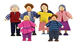 Melissa & Doug 7-Piece Poseable Wooden Doll Family for Dollhouse (2-4 inches each)