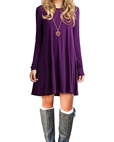 ns Basic Loose T-Shirt Plain Long Sleeve Flowy Dress Simple Tank Women's Tunic Purple Medium (Purple Soft Dress)