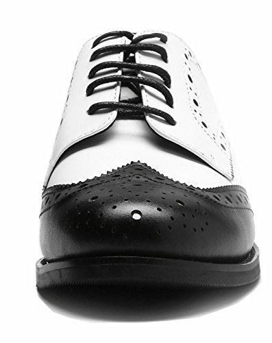 nero SimpleC sintetica da classico pelle Toe Pointe donna in semplice Brogue in Bianco stile Scarpe pelle rZqTwxr