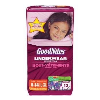 GoodNites Youth Underpants pack of 12 Size Large/XLarge Gender Girls Kimberly Clark KBC21720 (Pack)