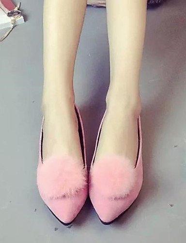 PDX/ Damenschuhe-Ballerinas-Büro / Kleid / Lässig-Stoff-Flacher Absatz-Bommel-Schwarz / Rosa , pink-us5 / eu35 / uk3 / cn34 , pink-us5 / eu35 / uk3 / cn34