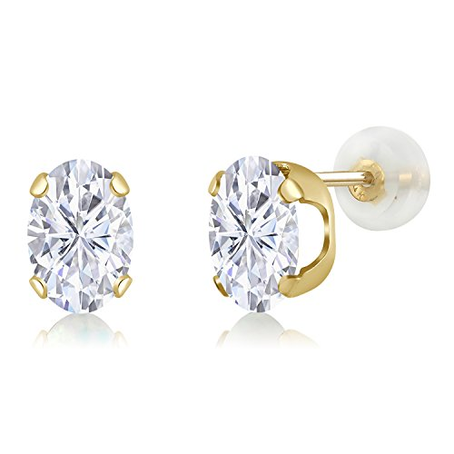 14K Yellow Gold Stud Earrings Forever Classic Oval 1.80ct (DEW) Created Moissanite by Charles & Colvard