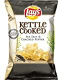 Lay's, Kettle Cooked Potato Chips, Sea Salt & Cracked Pepper, 8.5oz Bag (Pack of 3)