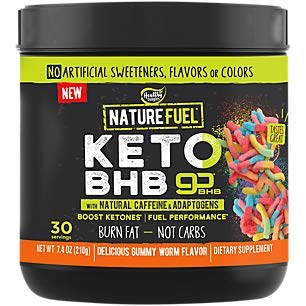 Nature Fuel Keto BHB Powder, Gummy Worm Flavor, With Natural Caffeine and Adaptogens, Boost Ketones and Fuel Performance (7.4 Ounces Powder)