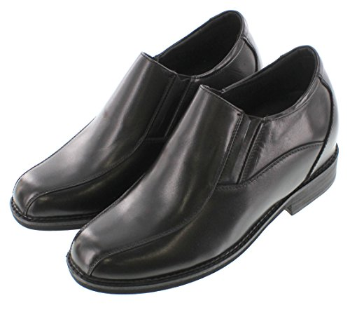 CALTO G85802-3.3 inches Taller - Height Increasing Elevator Shoes (Black Leather Slip-on) F3B1lMLrP