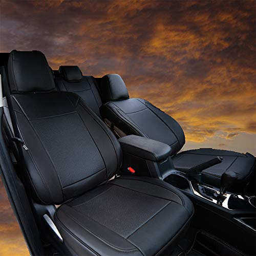 Bwen zdc0513a Car Seat Covers Leather Custom Full Set Seat Covers for Honda CRV 2017 2018,Black