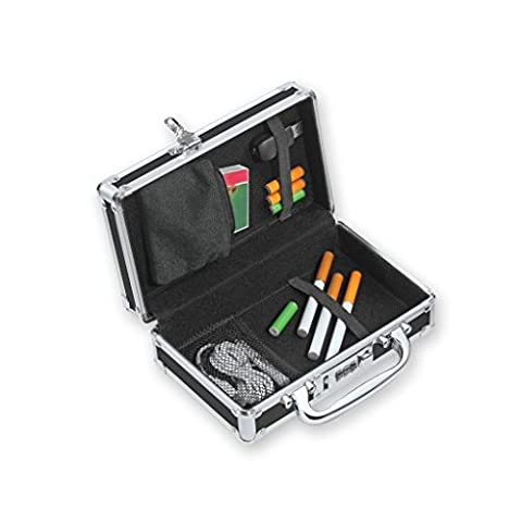Large Locking E-Cig Vaping Device and Accessory Storage Case in Midnight Black by Vaultz (Steel Vapor Mod)