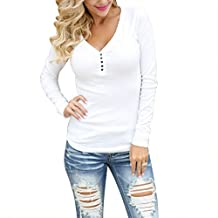 Women Round Neck Long Sleeve Slim Blouse Henley T-shirts Thermal Top