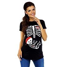 Zeta Ville Womens Maternity Halloween Baby Skeleton Funny Tee Shirt X-ray 185c