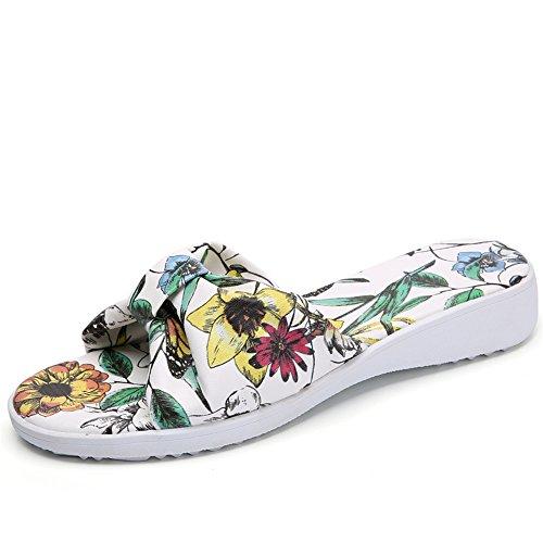 Zapatos De Plataforma Abierta Del Dedo Del Pie De Las Mujeres Sandalias De La Diapositiva Zapatos De Zuecos Del Jardín Zapatos De Moda Para La Casa O Al Aire Libre White