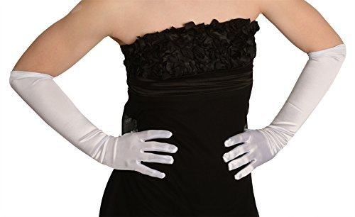 Kangaroo's One Size Elbow Length White Opera Satin Gloves -