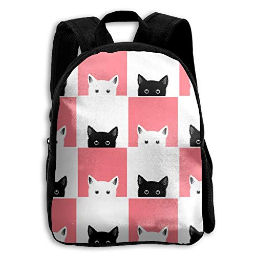 Black And White Pink Cat Checkerboard Premium Durable Waterproof Backpacks For Kids From,School Bag For Boys, Girls, Pre-School, Kindergarten, Traveling, Hiking, Camping, And Outdoor Daypack