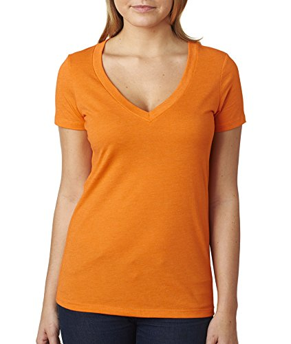 Next Level Ladies' CVC Deep V-Neck Tee (Orange) (X-Large)
