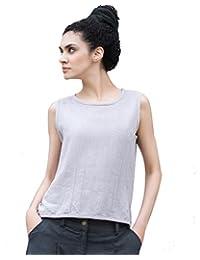 OUTLINE Women's Original Vintage Soild Linen Tank Top Shirts
