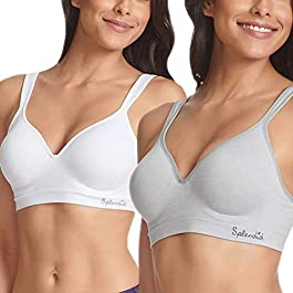 Splendid Ladies' Seamless Wireless Bra, 2-Pack, White/Gray