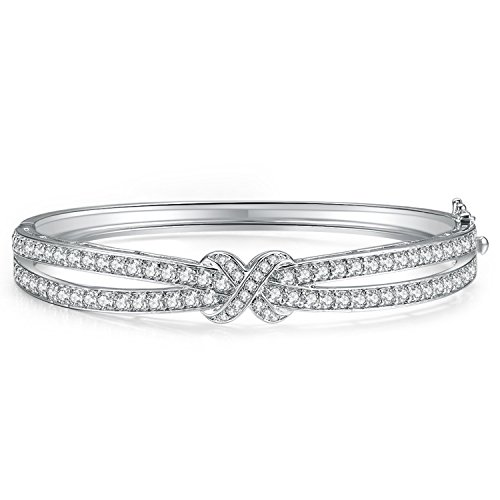 Cut Hinged Bangle Bracelet (Caperci White Gold Plated Cubic Zirconia