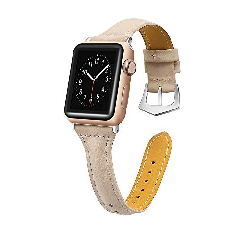 Sunbona 38mm Bracelet Band for Apple Watch Series 1/2/3, Solid Color Durable Leather Adjustable Sports Bangle Replacement Wrist Women Strap Gifts (Khaki)
