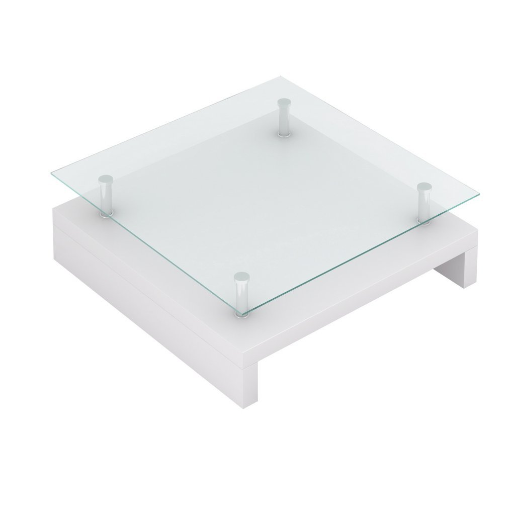 Vidaxl table basse de salon carrée verre blanc laqué: amazon.fr ...