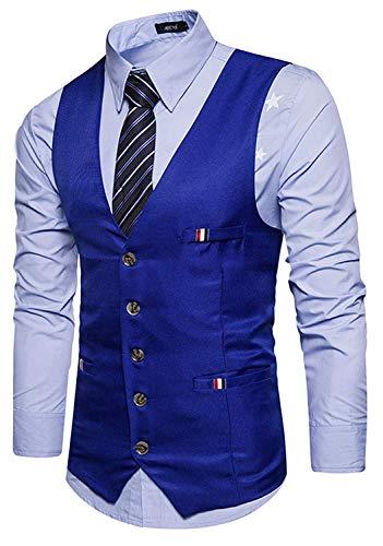 Testurizzato Sposa Realizzato 2 Contrasto Materiale Vintage Gilet Con blue Slim In Uomo Sottile Vestitino Da Fit 4wwYgv