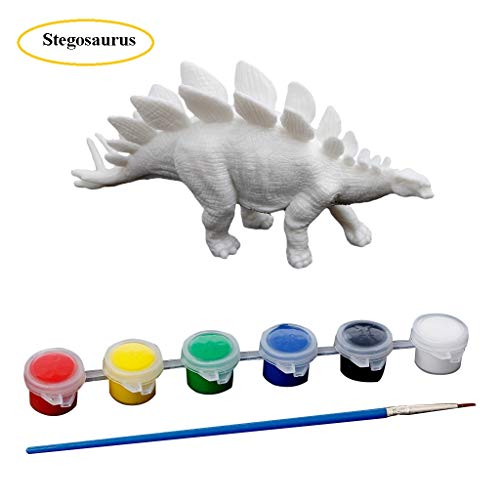 (Dinfoger Dinosaur Paint&Play Set,Triceratops, Baryonyx, Velociraptor, and Diplodocus,Pterosaur,Stegosaurus,Brachiosaurus ,DIY Graffiti Toys, Party Favor Gift for Kids Boys Girls (Stegosaurus 5))