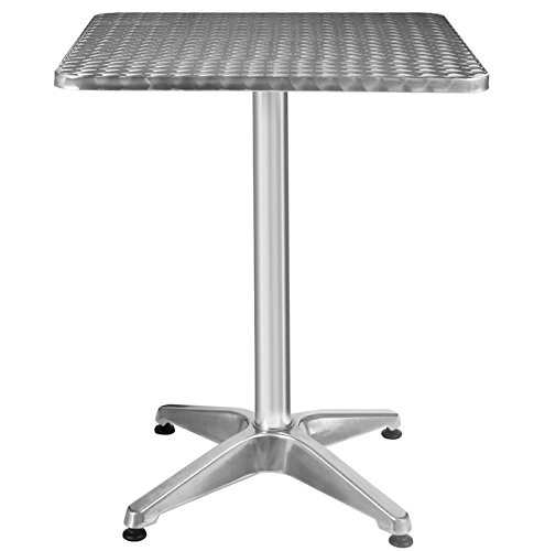 23 1/2'' Square Table Aluminum Stainless Steel Finished Top Solid Construction Patio Garden Outdoor Indoor Use Pub Bar Restaurant Kitchen Furniture Height Adjustable Sleek Design Easy To Clean