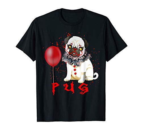 Balloon Halloween Costumes (Pug Clown Funny Halloween Costume Horror Balloon Gift TShirt)