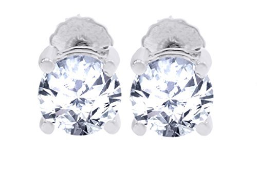 40d77dab8 10k White Gold Basket Round CZ Cubic Zirconia Solitaire Children Stud  Screwback Baby Girls Earrings