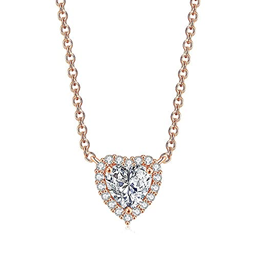 14K Gold Plated Post Faux Diamond Heart Solitaire Pendant Halo Necklace | Necklace for Women | Slider Adjustable