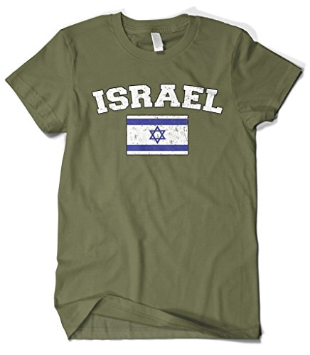 Maccabiah Games - Cybertela Men's Faded Distressed Israel Flag T-Shirt (Olive Green, 2X-Large)
