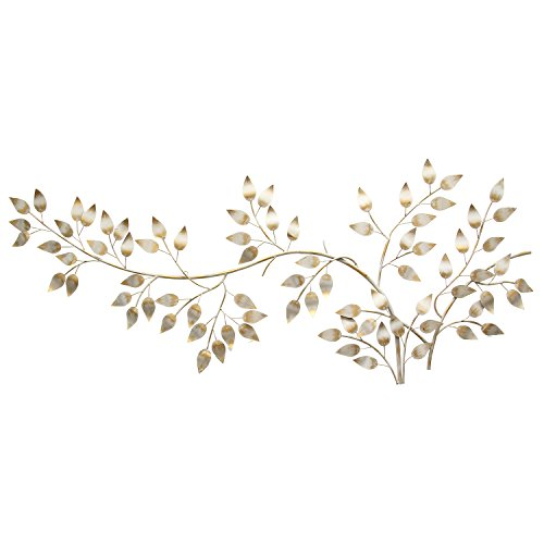 Stratton Home Decor SHD0106 Brushed Flowing Leaves Wall Decor, Gold, 60.00 W X 1.25 D X 28.00 H, Metallic White