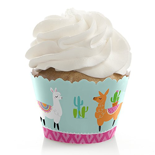 Whole Llama Fun - Llama Fiesta Baby Shower or Birthday Party Cupcake Decorations - Party Cupcake Wrappers - Set of 12 ()