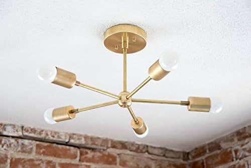 5 Arm Brass Gold Sputnik Style Mid Century Modern Inspired Starburst Chandelier UL Listed