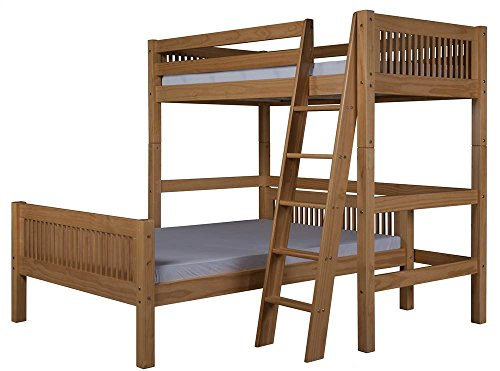 L-Shape Twin Over Full Loft Bed in Natural Finish