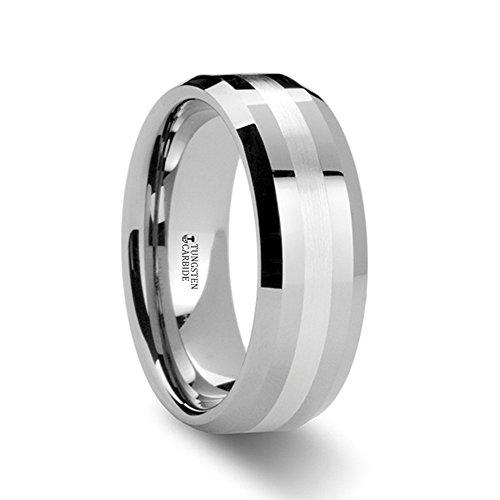 Beveled Palladium (BENEDICT Palladium Inlaid Beveled Tungsten Ring - 8mm)