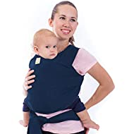 Baby Wrap Carrier All-in-1 Stretchy Baby Wraps - Baby Sling - Infant Carrier - Babys Wrap - Hands Free Babies Carrier Wraps - Baby Shower Gift (Navy Blue)