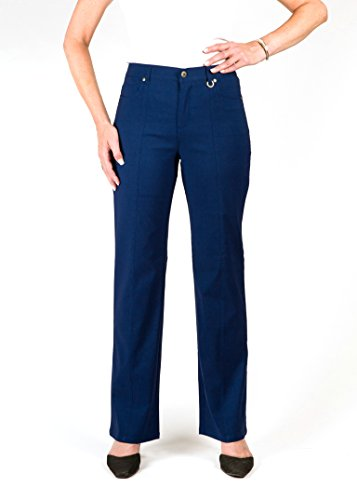 *Petite* Simon Chang 5 Pocket Straight Leg Microtwill Pant Style#3-5302P (14 PT, Navy) by Simon Chang