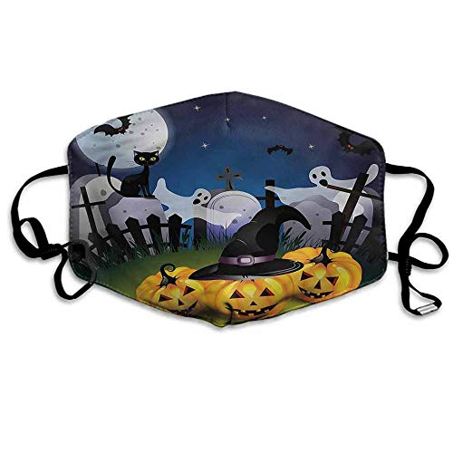 Halloween Dust Mouth Mask Pumpkins Witches Hat Moon for Men and Women W4